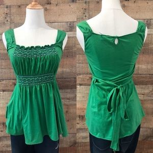 Anthropologie Green Ric Rae Top Smocking Medium